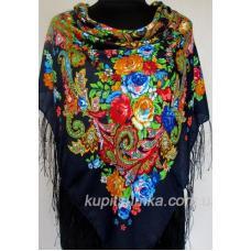 Украинский платок с узором Темно-синий
