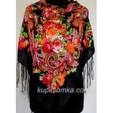 Уникальный украинский платок с ярким цветочным узором Черный