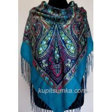 Уютный украинский платок с цветочным узором Бирюзовый