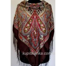 Уютный украинский платок с цветочным узором Коричневый
