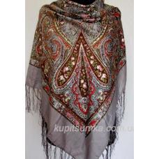 Уютный украинский платок с цветочным узором Кофейный