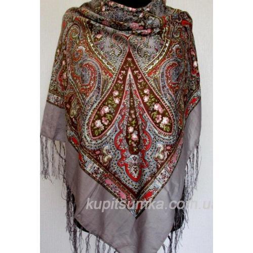 Украинский платок с цветочным узором бежевый 54Т8