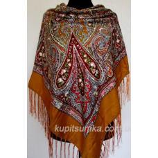 Украинский платок с цветочным узором коричневый 55Т0-89