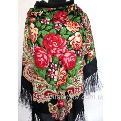 Женский украинский платок черный 11Т0