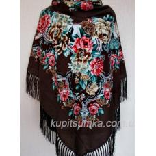 Шерстяной платок в национальном стиле Коричневый