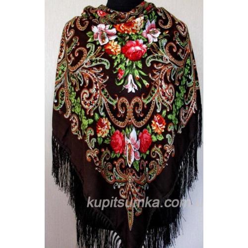 Украинский женский платок TK334-3 Кофейный