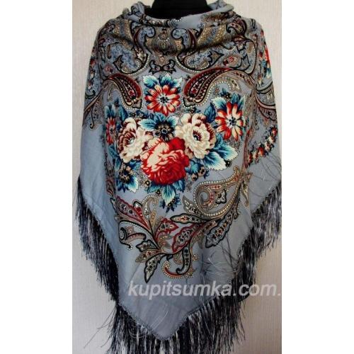 Шерстяной платок в национальном стиле с рисунком крупных цветов цвет серый