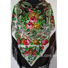 Шерстяной платок в национальном стиле, цвет коричневый