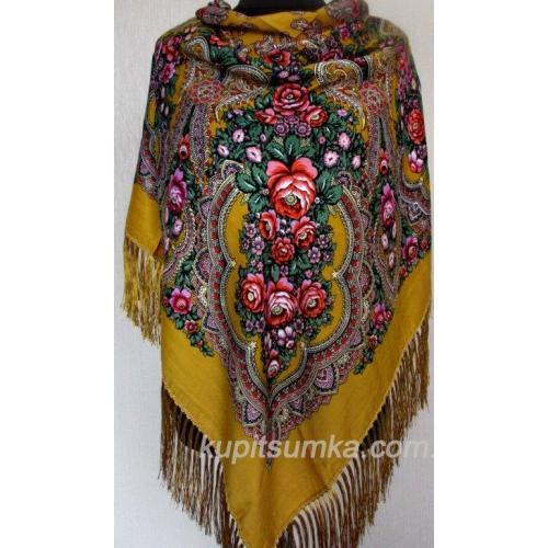 Национальный женский платок 46Т3 Горчичный