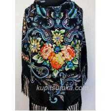 Шерстяной украинский платок черный 45Т4