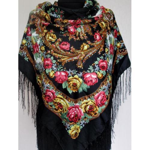 Украинский платок в национальном стиле 161Т Черный