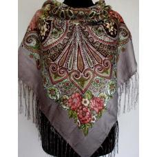 Женский платок в национальном стиле 588T Кофейный
