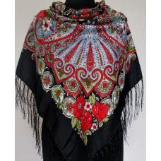 Украинская женская шаль 597T Черный
