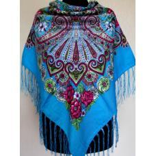 Украинский платок для женщин 587T Голубой
