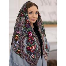 Женский украинский платок KT366-10 Серый