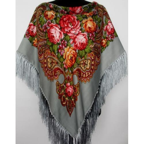 Украинский платок женский серый 344T
