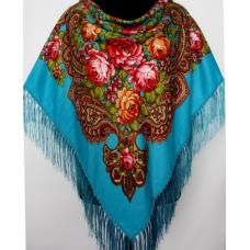 Украинский платок женский голубой K44-4T