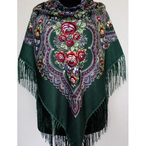Женский шерстяной украинский платок KT363-1 Зеленый