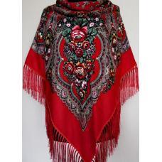 Женский шерстяной украинский платок KT362-8 Красный