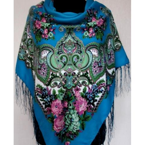Женский платок в этно стиле 213T Голубой