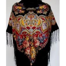 Украинская женская шаль 217T Черный