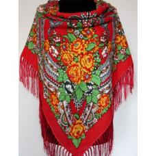 Украинский шерстяной платок Богдана 732T Красный