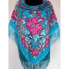 Украинский шерстяной платок с кистями 728T Голубой