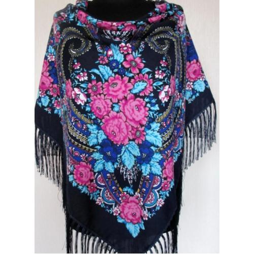 Народный платок женский синий 735T-5657