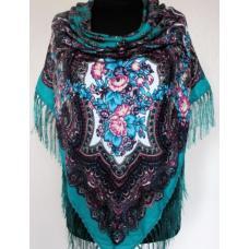 Украинский шерстяной платок 257T Бирюзовый