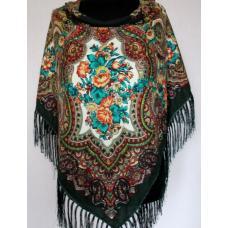 Украинский шерстяной платок 258T Зеленый