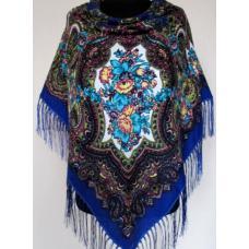 Украинский шерстяной платок 259T Синий