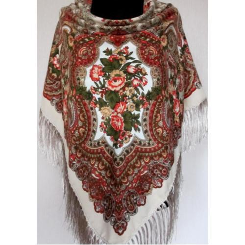 Украинский шерстяной платок 260T Бежевый