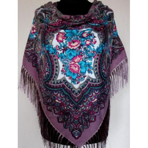 Украинский шерстяной платок 262T Сливовый