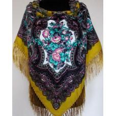 Украинский шерстяной платок 263 Горчичный