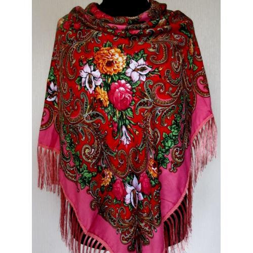Женский украинский платок 194T Розовый