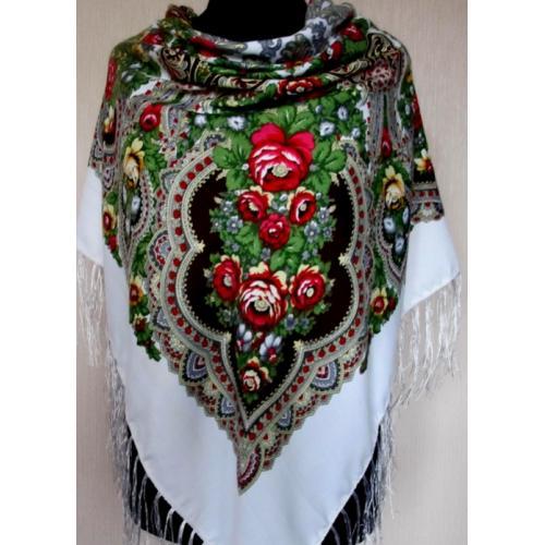 Кашемировый платок в украинском стиле 202T Белый