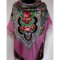 Женская шаль в украинском стиле 203T Сиреневый