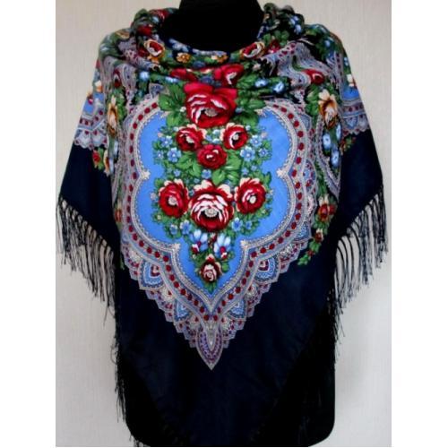 Традиционный украинский платок 206T Темно-синий