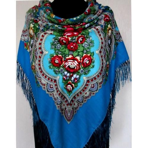 Национальный женский платок 207T Васильковый