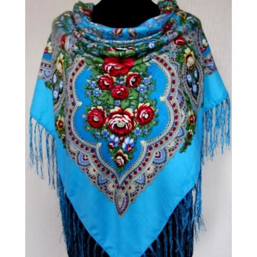 Украинский шерстяной платок 208T Голубой