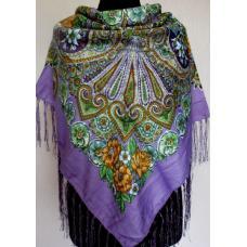 Женский платок в народном стиле 592T Сиреневый