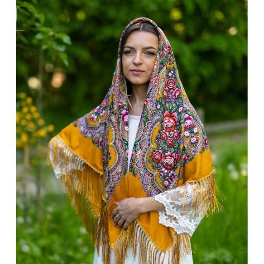 Национальный женский платок горчичный 46Т3