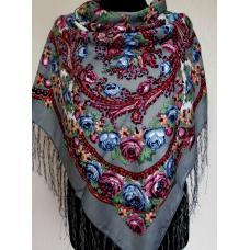 Украинский шерстяной платок 157T Серый
