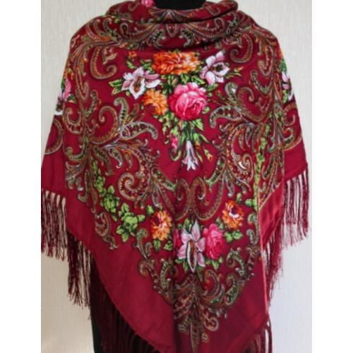 Украинский платок в национальном стиле 23T Бордовый