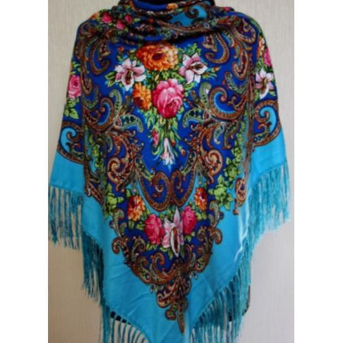 Украинский женский платок 24T голубой