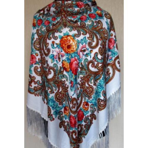 Украинский шерстяной платок 30T Белый