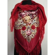 Женская тёплая косынка в национальном стиле 33T Красный