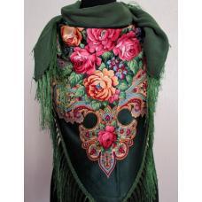 Женская теплая косынка в национальном стиле 35T Зеленый