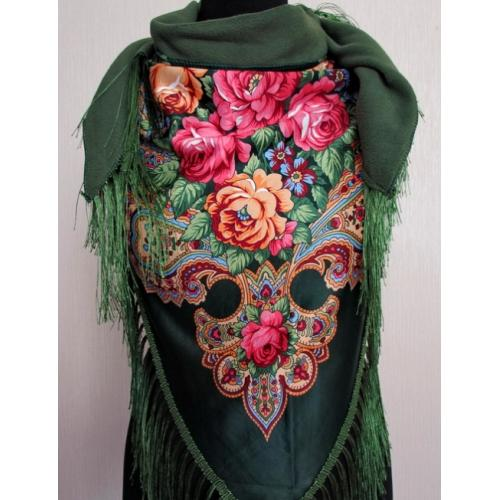 Женский теплый платок зеленый 35T