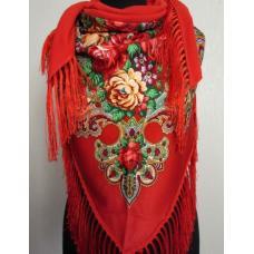 Женская косынка в народном стиле 36T Красный